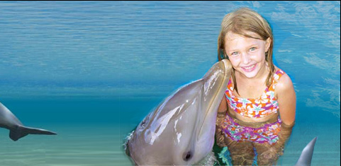 Little girl with dolphin.